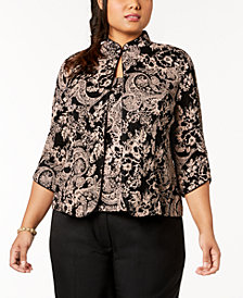 Alex Evenings Plus Size Glitter Paisley-Print Jacket & Top