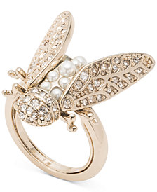 Marchesa Gold-Tone Crystal & Imitation Pearl Garden Ring