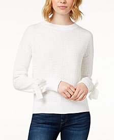 Buffalo David Bitton Textured Tie-Sleeve Cotton Sweater