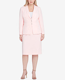 Tahari ASL Plus Size Shawl-Collar Starburst Skirt Suit