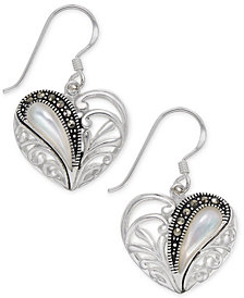 Marcasite & Mother-of-Pearl Heart Drop Earrings in Fine Silver-Plate