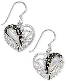 Marcasite & Mother-of-Pearl Heart Drop Earrings in Fine Silver-Plate
