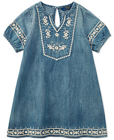Polo Ralph Lauren Embroidered Cotton Denim Dress, Little Girls