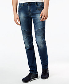 A|X Armani Exchange Men's Skinny Fit Stretch Moto Jeans
