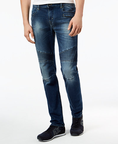 Armani Exchange Men's Skinny Fit Stretch Moto Jeans