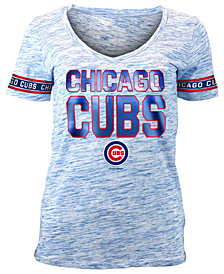 5th & Ocean Women's Chicago Cubs Plus Space Dye Sleeve T-Shirt
