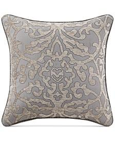 "Carrick Reversible 18"" Square Damask Decorative Pillow"