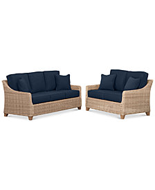 Willough Wicker Outdoor 2-Pc. Set (1 Sofa & 1 Loveseat) with Custom Sunbrella® Colors, Created For Macy's