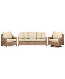 Willough Wicker  3-Pc. Set (1 Sofa, 1 Club Chair, & 1 Swivel Glider) with Custom Sunbrella® Colors, Created For Macy's