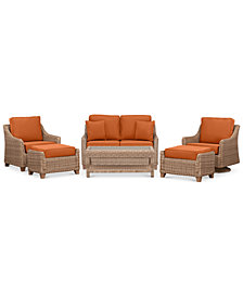 Willough Wicker Outdoor  6-Pc. Set (1 Loveseat, 1 Swivel Glider, 1 Club Chair, 1 Coffee Table & 2 Ottomans)with Custom Sunbrella® Colors, Created For Macy's