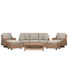 Willough Wicker Outdoor 6-Pc. Set (1 Sofa, 2 Swivel Gliders, 1 Coffee Table & 2 Ottomans) with Custom Sunbrella® Colors, Created For Macy's