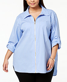 Calvin Klein Plus Size Cotton Zip-Front Shirt