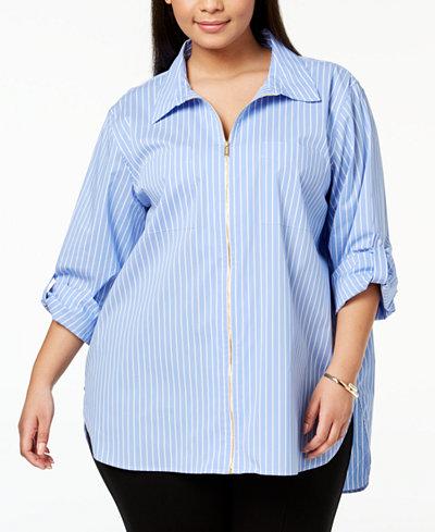 Calvin Klein Plus Size Cotton Zip-Front Shirt
