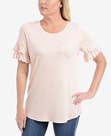 NY Collection Petite Embellished Ruffle-Sleeve Top
