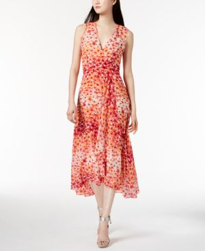 PRINTED CHIFFON FAUX-WRAP DRESS, REGULAR & PETITE SIZES