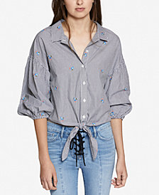 Sanctuary Clover Cotton Tie-Hem Striped Embroidered Shirt