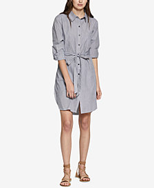 Sanctuary Taegan Cotton Striped Belted Shirtdress