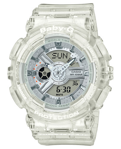Baby-G Women's Analog-Digital Clear Resin Strap Watch 43.2mm