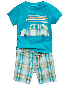 First Impressions Beach Buggy-Print T-Shirt & Plaid Shorts, Baby Boys, Created for Macy's