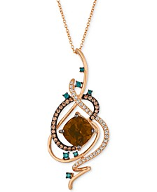 "Exotics® Crazy Collection® Chocolate Quartz® (3-3/4 ct. t.w.) & Diamond (3/4 ct. t.w.) 18"" Pendant Necklace in 14k Rose Gold"