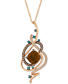 "Le Vian Exotics® Crazy Collection® Chocolate Quartz® (3-3/4 ct. t.w.) & Diamond (3/4 ct. t.w.) 18"" Pendant Necklace in 14k Rose Gold"