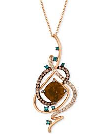 "Le Vian Exotics® Crazy Collection® Chocolate Quartz® (3-3/4 ct. t.w.) & Diamond (3/4 ct. t.w.) 18"" Pendant Necklace in 14k Rose Gold"