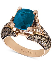 Chocolatier® Deep Sea Blue Topaz™ (3-3/8 ct. t.w.) & Diamond (1-1/5 ct. t.w.) Ring in 14k Rose Gold