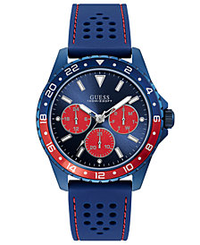 GUESS Men's Blue Silicone Strap Watch 44mm