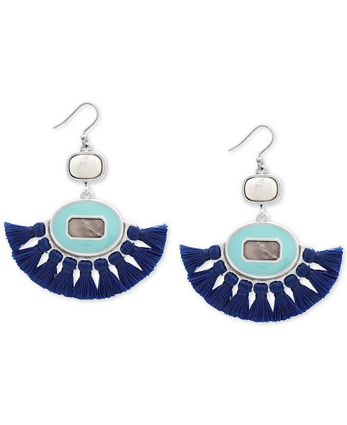 Lucky Brand Silver-Tone Stone & Tassel Fringe Drop Earrings, Created for Macy's