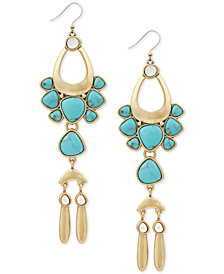 Lucky Brand Gold-Tone Stone Drop Earrings