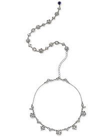 "Jewel Badgley Mischka Silver-Tone Crystal Flower 15"" Backdrop Collar Necklace"