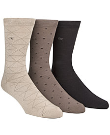 Calvin Klein Men's Socks, Fashion Geometric Crew 3 Pack