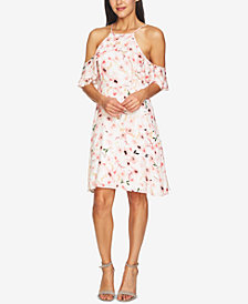 CeCe Floral-Print Ruffled Halter Dress