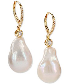 Gold-Tone Crystal & Natural Baroque Pearl Drop Earrings