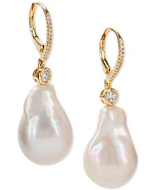Nina Gold-Tone Crystal & Natural Baroque Pearl Drop Earrings