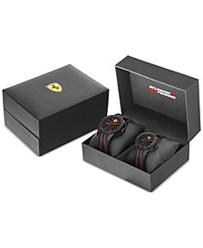 Men's Red Rev Black Silicone Strap Watch 38mm & 44mm Gift Set