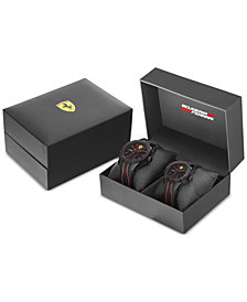 Ferrari Men's Red Rev Black Silicone Strap Watch 38mm & 44mm Gift Set