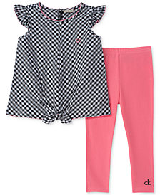 Calvin Klein 2-Pc. Tie-Front Gingham Top & Leggings Set, Little Girls