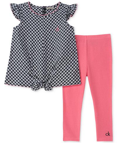 Calvin Klein 2-Pc. Tie-Front Gingham Top & Leggings Set, Toddler Girls
