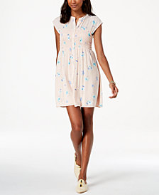 Free People Greatest Day Printed Smocked Shirtdress