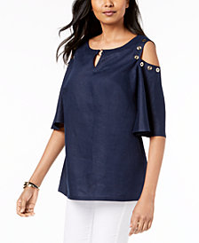 JM Collection Linen Cold-Shoulder Grommet Top, Created for Macy's