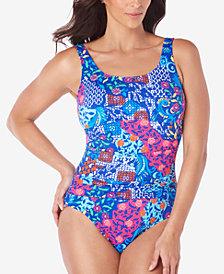 Swim Solutions Mastectomy Bali Printed Tummy- Control One-Piece Swimsuit