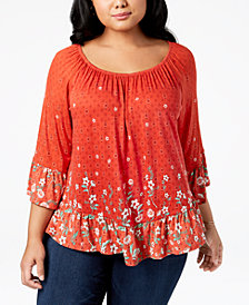 Style & Co Plus Size Printed Bell-Sleeve Tunic, Created for Macy's