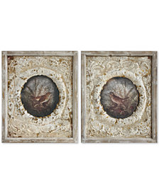 Wood Framed & Embossed Metal Wall Décor with Bird, Set of 2