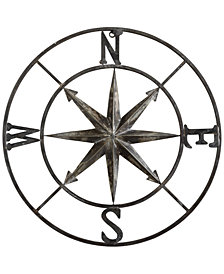 30'' Round Metal Compass Wall Décor