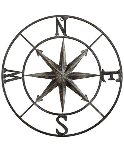 30'' Round Metal Compass Wall Décor