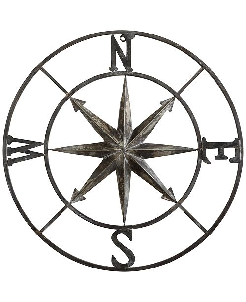 3R Studio  30'' Round Metal Compass Wall Décor