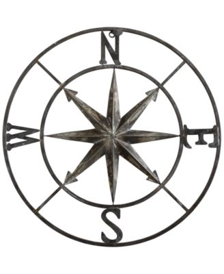 30u0027u0027 Round Metal Compass Wall Décor