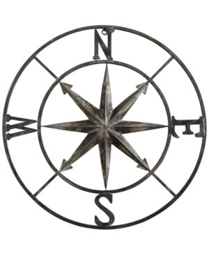 "Image of 30"" Round Metal Compass Wall Decor"