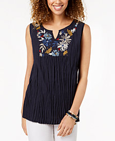 Style & Co Cotton Embroidered Top, Created for Macy's